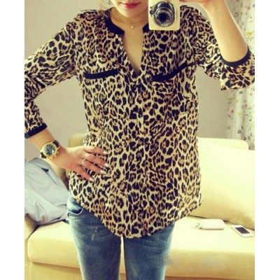 Leopard Print Long Sleeve Stand-Up Collar Single-Breasted Shirt For Women