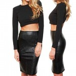Long Sleeves Backless Short T-Shirt and PU Leather Skirt Sexy Suit For Women black