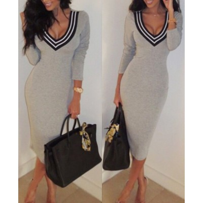 Plunging Neck Long Sleeves Striped Splicing Sexy Dress For Women gray