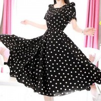 Polka Dot Print Beam Waist Scoop Neck Color Block Short Sleeve Casual Dress For Women black
