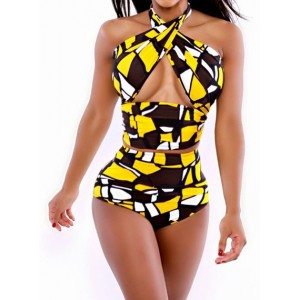 Printed High-Waisted Stylish Halter Women's Bikini Set yellow