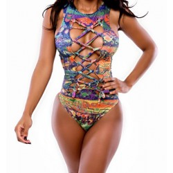 Printed Hollow Out One-Piece Stylish Jewel Neck Women's Swimsuit