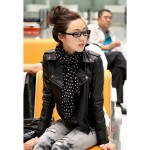 Punk Lapel Rivet Motorcycle PU Leather Jacket For Women black