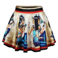 Retro Style Women's High-Waisted Printed Skirt