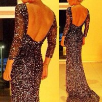 Rhinestone Embellished Backless Sexy Round Collar Long Sleeve Women's Maxi Dress