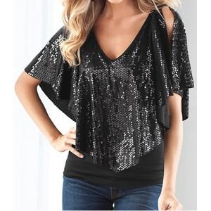 Sequins Embellished Fashionable V-Neck Short Sleeve Women's T-Shirt black