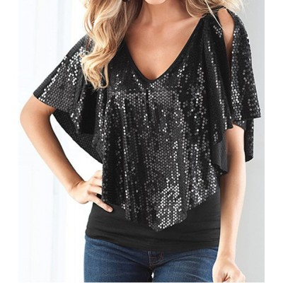 Sequins Embellished Fashionable V-Neck Short Sleeve Women's T-Shirt black