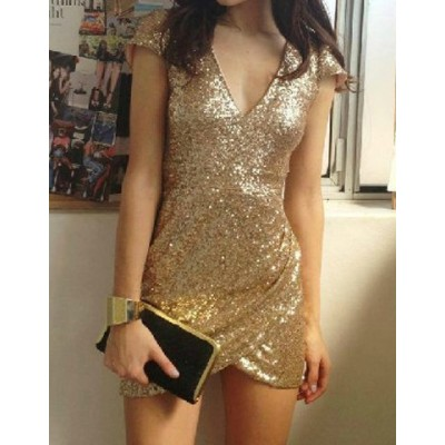 Sequins Embellished Sexy Plunging Neck Short Sleeve Women's Dress gold black