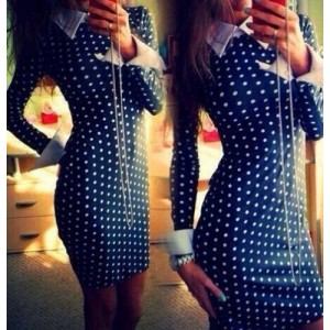 Sexy Flat Collar Long Sleeve Polka Dot Dress For Women