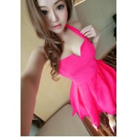 Sexy Halter Plunging Neck Solid Color Backless Voile Dress For Women rose yellow