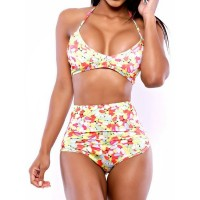 Sexy Halter Printed High-Waisted Push Up Bikini Set For Women