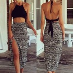 Sexy Halter Solid Color Tank Top + High-Waisted Printed Skirt Twinset For Women