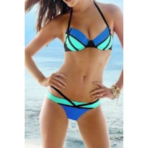 Sexy Halter Spliced Color Block Bikini Set For Women green