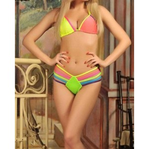 Sexy Halter Spliced Colorful Bikini Set For Women