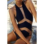 Sexy Halter Spliced See-Through One-Piece Swimwear For Women black