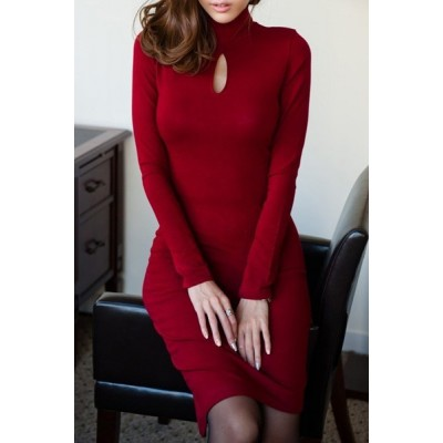 Sexy Keyhole Neck Long Sleeve Solid Color Dress For Women black red