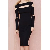 Sexy Long Sleeve Slash Collar Solid Color Hollow Out Dress For Women black