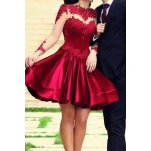 Sexy O Neck Long Sleeves Backless Mesh-lace Patchwork Red Mini Dress For Women red