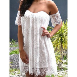 Sexy Off-The-Shoulder Short Sleeve Solid Color Lace Dress For Women white