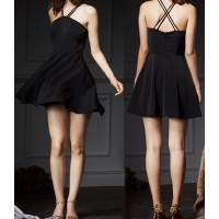 Sexy Off-The-Shoulder Sleeveless Solid Color Criss-Cross Dress For Women black