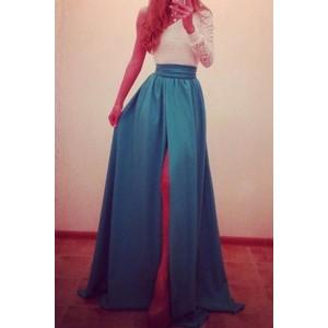 Sexy One-Shoulder Long Sleeve Spliced High Furcal Dress For Women blue
