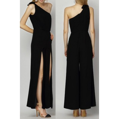 Sexy One-Shoulder Sleeveless Solid Color Furcal Jumpsuit For Women black