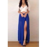 Sexy Plunging Neck 3/4 Sleeve Crossed Backless Crop Top + Split Skirt Twinset For Women white blue
