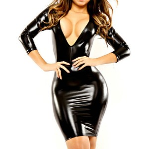 Sexy Plunging Neck 3/4 Sleeve Slimming Solid Color Faux Leather Dress For Women black