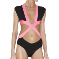 Sexy Plunging Neck Color Block One-Piece Swimwear For Women black pink
