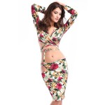 Sexy Plunging Neck Long Sleeve Criss-Cross Crop Top + Floral Print Skirt Twinset For Women