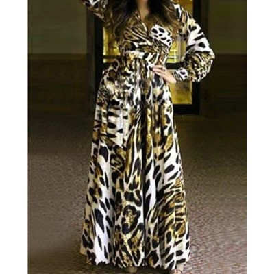 Sexy Plunging Neck Long Sleeve Leopard Print Dress For Women