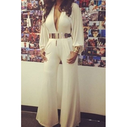Sexy Plunging Neck Long Sleeve Loose-Fitting Jumpsuit For Women white Zoom.  Product ... 7b515f526