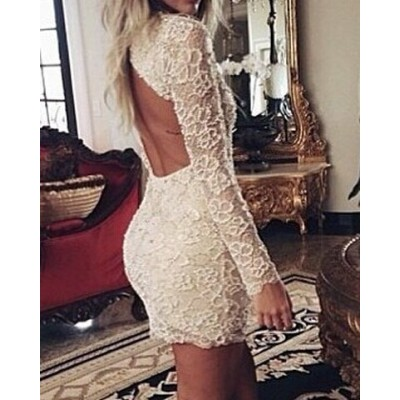 Sexy Plunging Neck Long Sleeve Solid Color Backless Dress For Women white