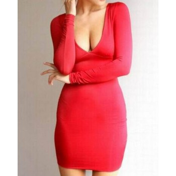 Sexy Plunging Neck Long Sleeve Solid Color Hollow Out Dress For Women blue red