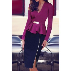 Sexy Plunging Neck Long Sleeve Zipper Design Flounced Dress For Women purple