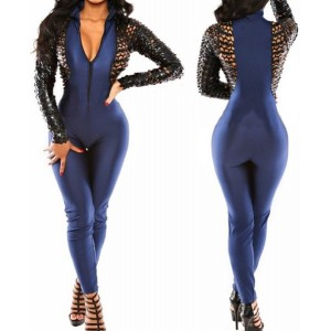 Sexy Plunging Neck Long Sleeve Zippered Hollow Out Jumpsuit For Women blue