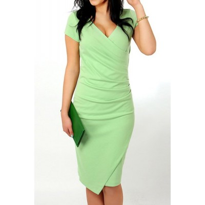 Sexy Plunging Neck Short Sleeve Solid Color Asymmetrical Dress For Women green black blue