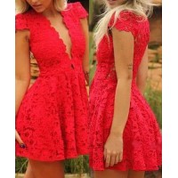 Sexy Plunging Neck Short Sleeve Solid Color Lace Dress For Women red