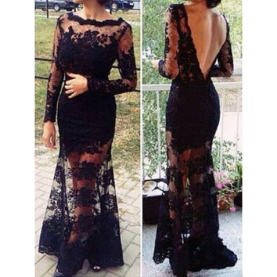 Sexy Round Collar Long Sleeve Backless See-Through Lace Dress For Women black