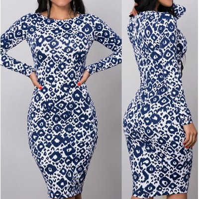 Sexy Round Collar Long Sleeve Printed Bodycon Dress For Women blue