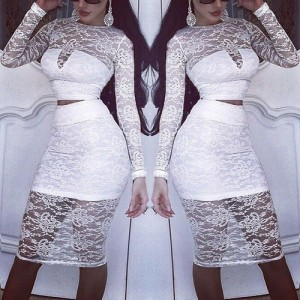 Sexy Round Collar Long Sleeve See-Through Crop Top + High-Waisted Skirt Twinset For Women white black blue red