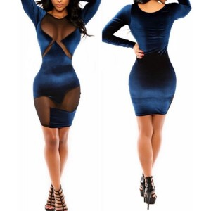 Sexy Round Collar Long Sleeve See-Through Spliced Dress For Women blue