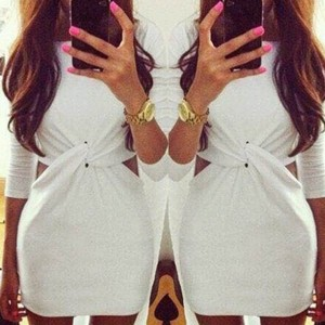 Sexy Round Collar Long Sleeve Solid Color Hollow Out Dress For Women white