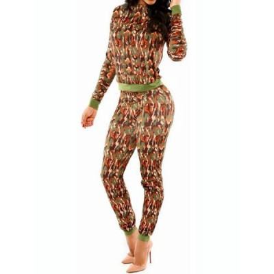 Sexy Round Collar Long Sleeve Spliced Printed Bodycon Jumpsuit For Women