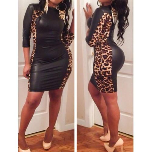 Leopard print sexy dress