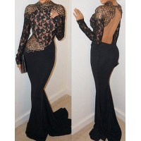 Sexy Round Neck Long Sleeve Backless Spliced Maxi Dress For Women black