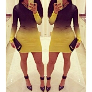 Sexy Round Neck Long Sleeve Gradiente Bodycon Dress For Women