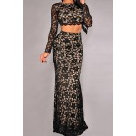 Sexy Round Neck Long Sleeve See-Through Crop Top + Lace Skirt Twinset For Women black