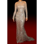 Sexy Round Neck Long Sleeve Sequined See-Through Dress For Women white