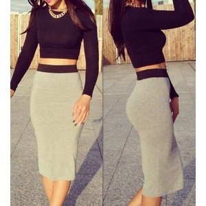 Sexy Round Neck Long Sleeve Solid Color Crop Top + Spliced Skirt Twinset For Women black gray
